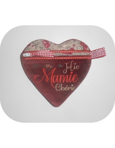Instant download machine embroidery zip purse heart sweetheart granny ith