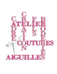 Motif de broderie machine  texte broderie couture
