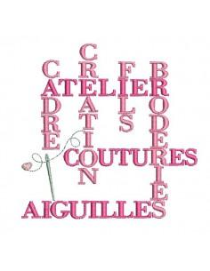 Motif de broderie machine  texte broderie couture