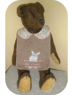 Instant downloads machine embroidery design machine  ITH  bib customizable donkey girl