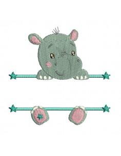 Motif de broderie machine hippopotame prénom garçon