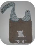 Motif de broderie machine ITH  Bavoir hippopotame prénom garçon