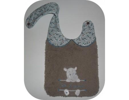Instant downloads machine embroidery design machine  ITH  bib customizable donkey boy