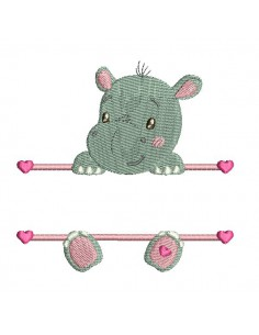 instant download machine embroidery design customizable hippopotamus girl