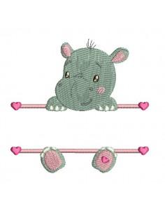 Motif de broderie machine hippopotame prénom fille