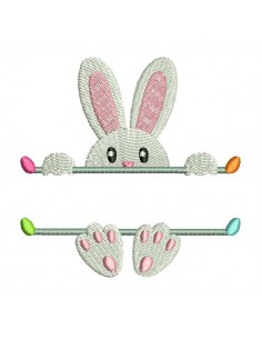 Motif de broderie machine  lapin prénom de Pâques