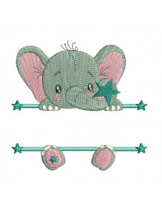 Motif de broderie machine Elephant prénom garçon