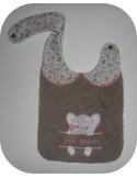 Motif de broderie machine ITH  Bavoir éléphant prénom fille