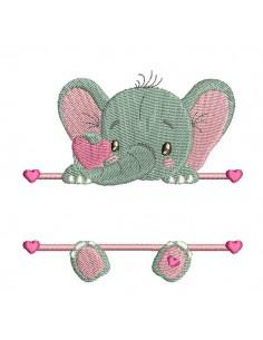Motif de broderie machine Elephant prénom fille