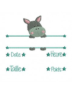 instant download machine embroidery design customizable birth journal donkey boy