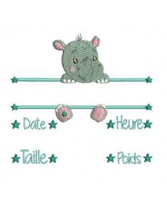 Motif de broderie machine hippopotame journal de naissance garçon