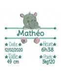 instant download machine embroidery design customizable hippopotamus boy