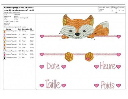 instant download machine embroidery design customizable birth journal hippopotamus girl