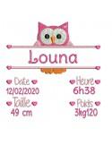 instant download machine embroidery design customizable birth journal fox girl
