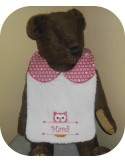 Instant downloads machine embroidery design machine  ITH  bib customizable owl girl