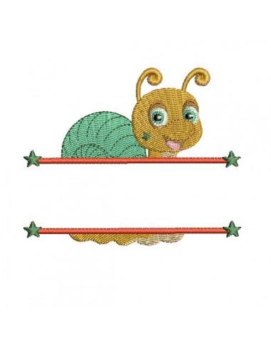 Motif de broderie machine escargot prénom garçon