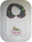 Instant downloads machine embroidery design machine  ITH  bib customizable snail girl