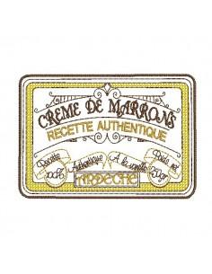 Motif de broderie machine  crème de marrons de l' Ardèche
