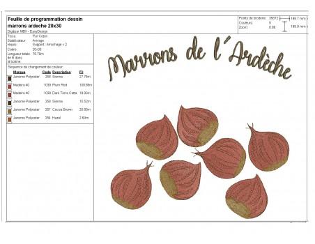 Instant download machine embroidery design Ardèche Chestnut cream