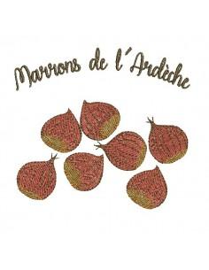 Motif de broderie machine  marrons de l' Ardèche