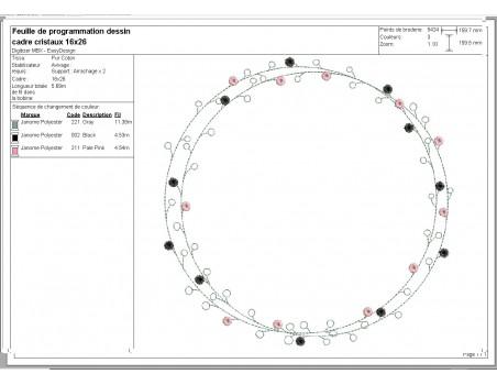 Motif de broderie machine cadre cristaux
