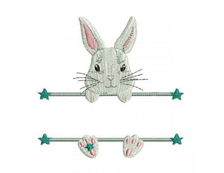 Motif de broderie machine lapin  prénom