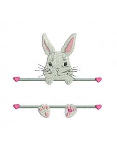 Motif de broderie machine lapin  prénom fille