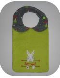 Instant downloads machine embroidery design machine  ITH  bib customizable rabbit girl