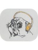 Instant download machine embroidery dog carlin with a wool cap
