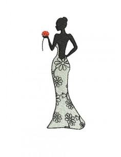 Motif de broderie machine  silhouette femme n°8