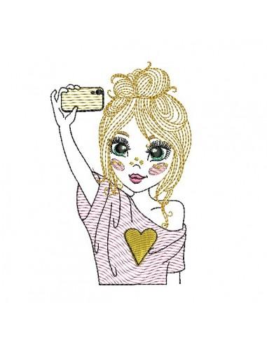Motif de broderie machine fille selfie en mylar