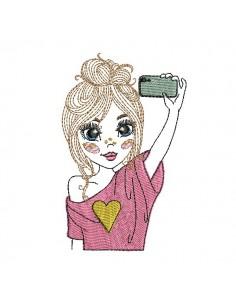 Motif de broderie machine fille faisant un selfie
