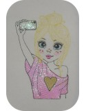 Instant download machine embroidery design girl selfie mylar
