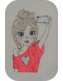 Instant download machine embroidery design little girl selfie mylar