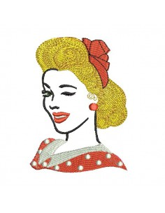 Instant download machine embroidery retro woman
