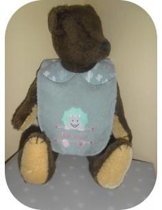 Instant downloads machine embroidery design machine  ITH  bib customizable dinosaurus girl
