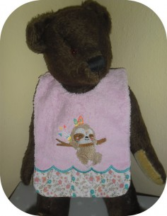 Instant downloads machine embroidery design machine  ITH  bib Sloth
