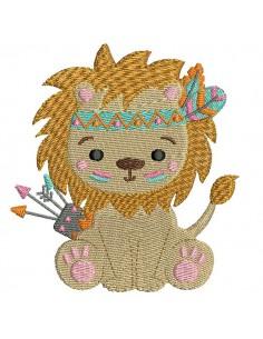 Motif de broderie machine lion indien