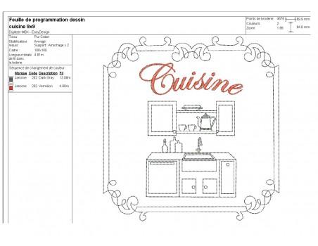 Motif de broderie machine cuisine
