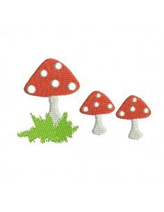 Motif de broderie machine champignons