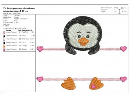 Motif de broderie machine pingouin  prénom fille