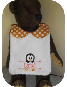 Instant downloads machine embroidery design machine  ITH  bib  girl Penguin