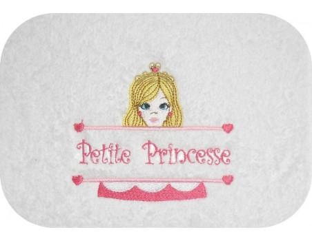 Motif de broderie machine princesse  prénom