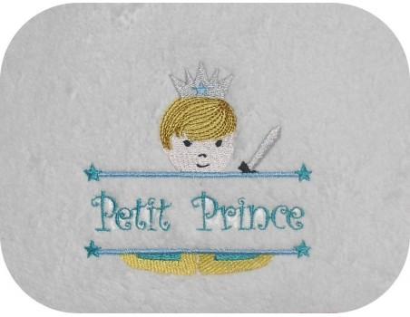 Motif de broderie machine prince prénom