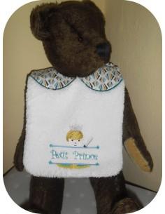 Instant downloads machine embroidery design machine  ITH  bib  girl princess