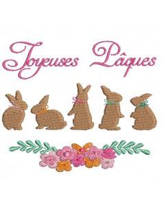 Motif de broderie machine  les lapins de Pâques