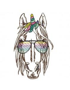 Motif de broderie machine licorne avec ses lunettes