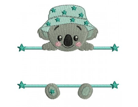 Motif de broderie machine koala  prénom garçon