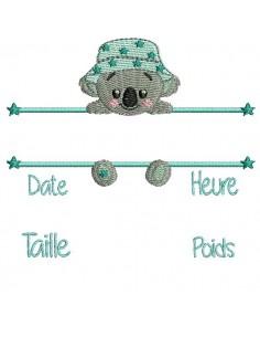 Motif de broderie machine koala  journal de naissance garçon