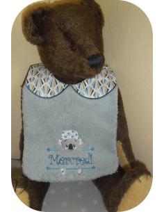 Instant downloads machine embroidery design machine  ITH  bib customizable dinosaurus boy
